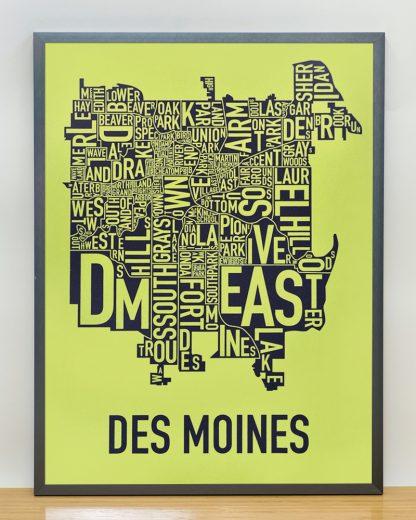 "Framed Des Moines Neighborhood Map, Lime & Grey, 18"" x 24"" in Steel Grey Frame"