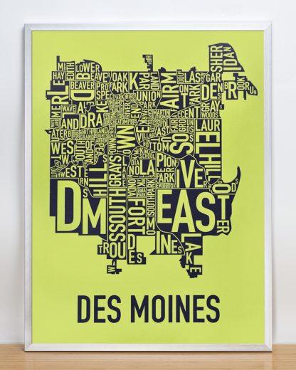 "Framed Des Moines Neighborhood Map, Lime & Grey, 18"" x 24"" in Silver Frame"