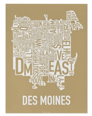"Des Moines Neighborhood Map, Tan & White, 18"" x 24"""