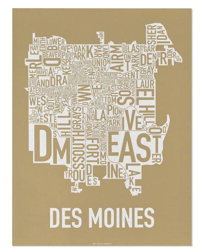 "Des Moines Neighborhood Map, Tan & White, 18"" x 24"""