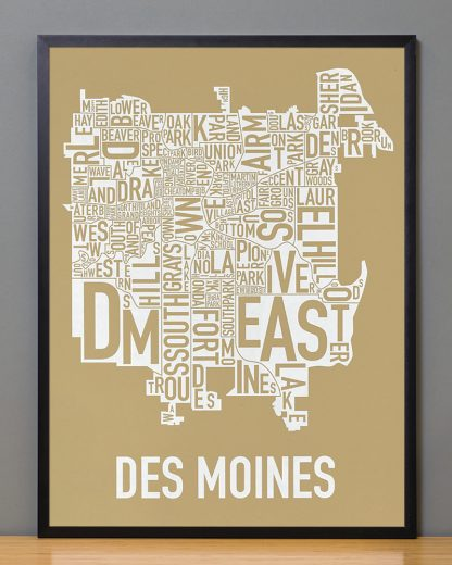 """Framed Des Moines Neighborhood Map, Tan & White, 18"""" x 24"""" in Black Frame"""