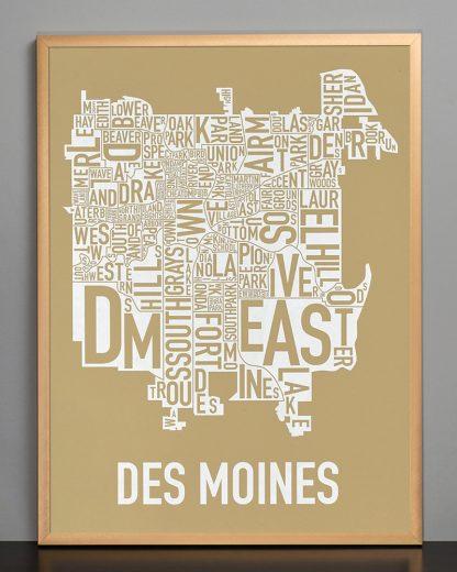 """Framed Des Moines Neighborhood Map, Tan & White, 18"""" x 24"""" in Bronze Frame"""