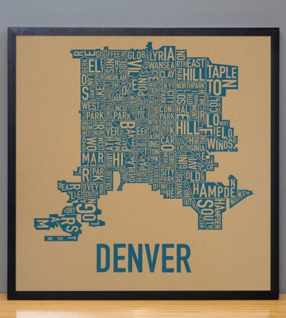 "Framed Denver Neighborhood Map Screenprint, Kraft & Blue, 18"" x 18"" in Black Frame"