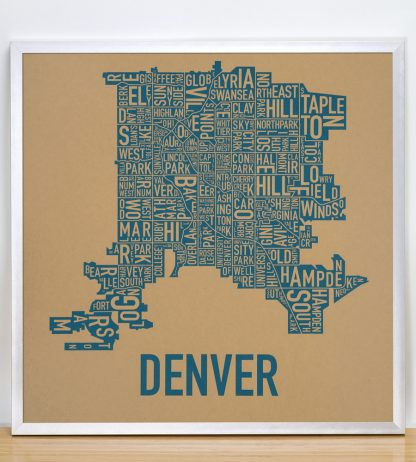 "Framed Denver Neighborhood Map Screenprint, Kraft & Blue, 18"" x 18"" in Silver Frame"
