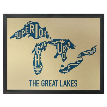 """Framed Great Lakes Typographic Map, Gold & Blue Screenprint, 11"""" x 14"""" in Black Frame"""