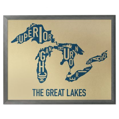 """Framed Great Lakes Typographic Map, Gold & Blue Screenprint, 11"""" x 14"""" in Steel Grey Frame"""