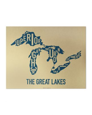 "Great Lakes Typographic Map, Gold & Blue Screenprint, 11"" x 14"""