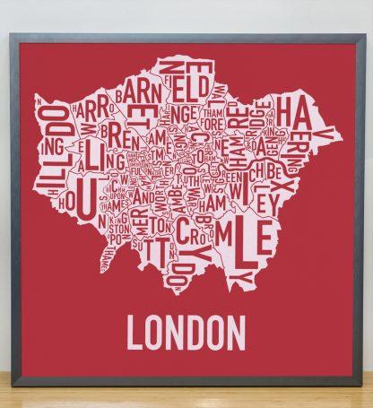 "Framed London Borroughs Map Poster Screenprint, Red & White, 20"" x 20"" in Steel Grey Frame"