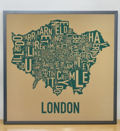 "Framed London Borroughs Map Poster Screenprint, Tan & Green, 20"" x 20"" in Steel Grey Frame"