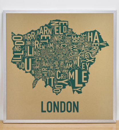 "Framed London Borroughs Map Poster Screenprint, Tan & Green, 20"" x 20"" in Silver Frame"