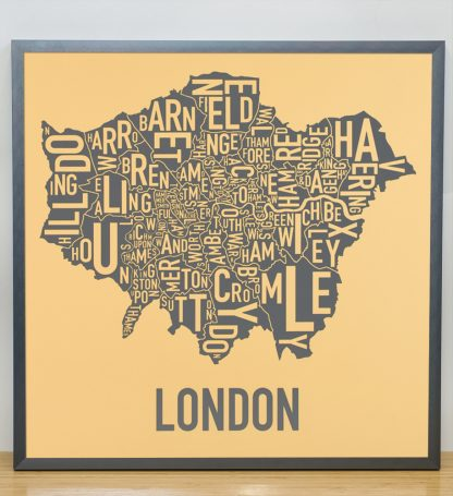"""Framed London Borroughs Map Poster, Yellow & Grey, 20"""" x 20"""" in Steel Grey Frame"""
