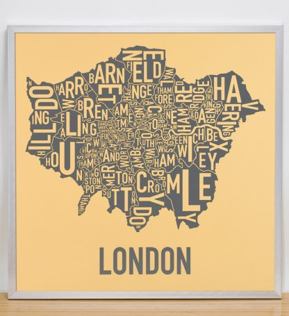 """Framed London Borroughs Map Poster, Yellow & Grey, 20"""" x 20"""" in SIlver Frame"""