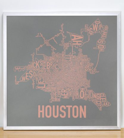 "Framed Houston Neighborhood Map Poster, Grey & Peach, 18"" x 18"" in Silver Frame"