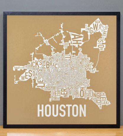 """Framed Houston Neighborhood Map Poster, Tan & White, 18"""" x 18"""" in Black Frame"""