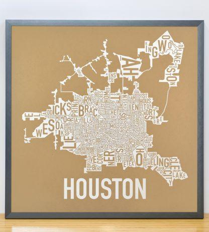 """Framed Houston Neighborhood Map Poster, Tan & White, 18"""" x 18"""" in Steel Grey Frame"""
