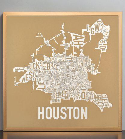 """Framed Houston Neighborhood Map Poster, Tan & White, 18"""" x 18"""" in Bronze Frame"""