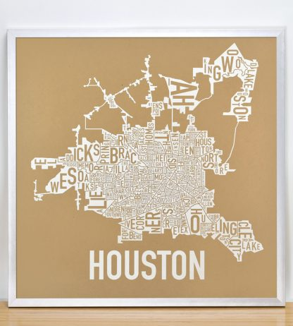 """Framed Houston Neighborhood Map Poster, Tan & White, 18"""" x 18"""" in Silver Frame"""