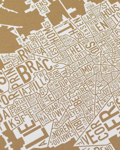 "Houston Neighborhood Map Poster, Tan & White, 18"" x 18"""