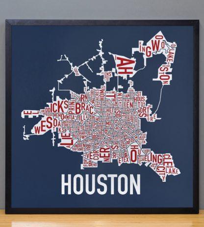 """Framed Houston Neighborhood Map Poster, Red White & Blue, 18"""" x 18"""" in Black Frame"""
