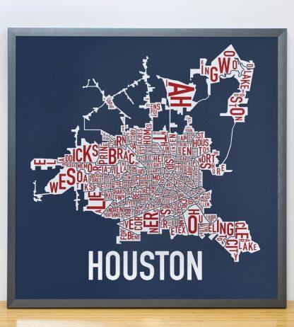 """Framed Houston Neighborhood Map Poster, Red White & Blue, 18"""" x 18"""" in Steel Grey Frame"""