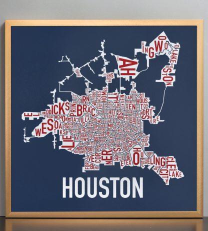 """Framed Houston Neighborhood Map Poster, Red White & Blue, 18"""" x 18"""" in Bronze Frame"""