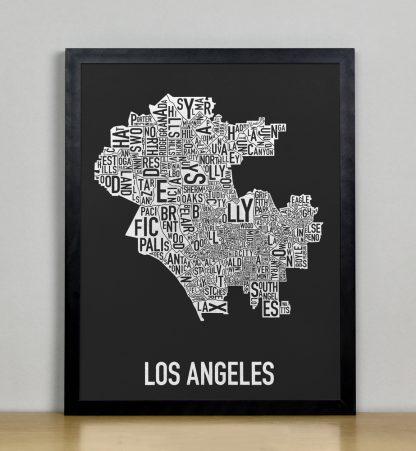 """Framed Los Angeles Neighborhood Map Screenprint, Black & White, 11"""" x 14"""" in Black Frame"""