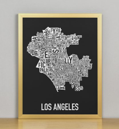 "Framed Los Angeles Neighborhood Map Screenprint, Black & White, 11"" x 14"" in Bronze Frame"