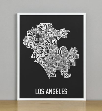 """Framed Los Angeles Neighborhood Map Screenprint, Black & White, 11"""" x 14"""" in White Metal Frame"""