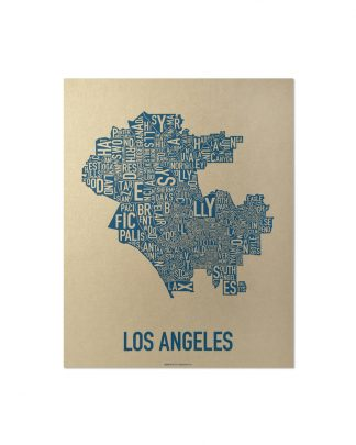 "Los Angeles Neighborhood Map, Gold & Blue Screenprint, 11"" x 14"""