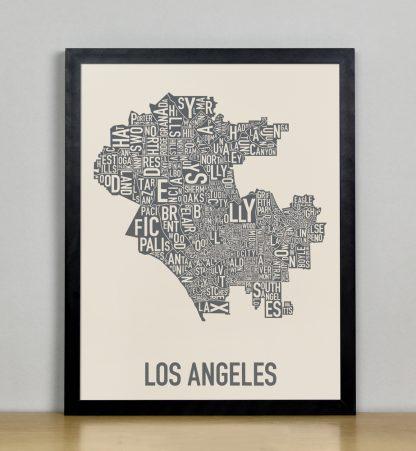 "Framed Los Angeles Neighborhood Map Screenprint, Ivory & Grey, 11"" x 14"" in Black Frame"