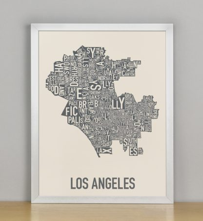 "Framed Los Angeles Neighborhood Map Screenprint, Ivory & Grey, 11"" x 14"" in Silver Frame"