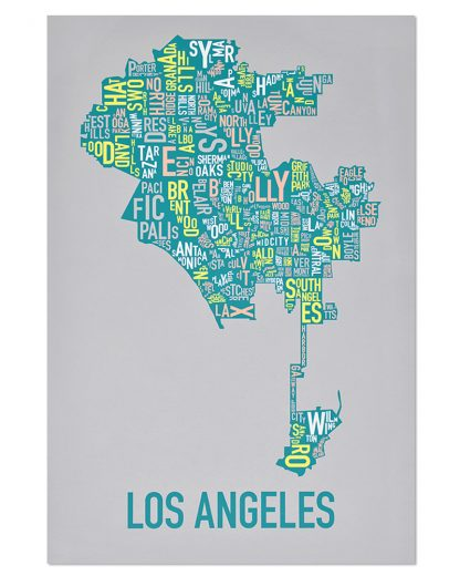 "Los Angeles Neighborhood Map Screenprint, Grey Multi, 20"" x 30"""