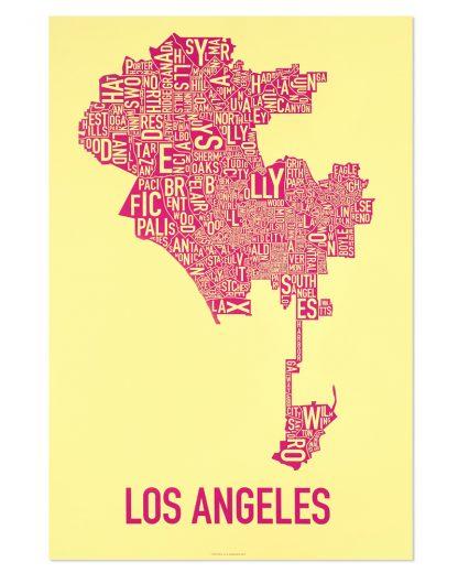 "Los Angeles Neighborhood Map Screenprint, Yellow & Pink, 20"" x 30"""