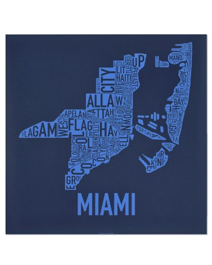 "Miami Neighborhood Map Screenprint, Navy & Light Blue, 18"" x 18"""