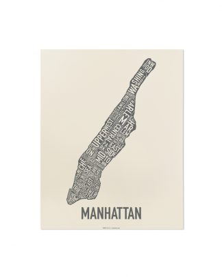 "Manhattan Neighborhood Map Screenprint, Ivory & Grey, 11"" x 14"""