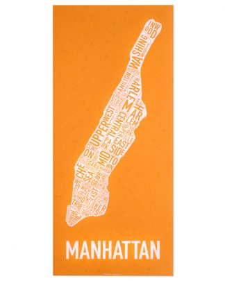 "Manhattan Neighborhood Map Screenprint, Orange & White, 13"" x 30"""