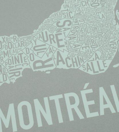 """Montreal Neighbourhoods Map, Grey & Light Green, 18"""" x 18"""""""