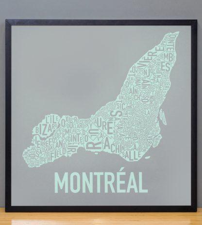 "Framed Montreal Neighbourhoods Map, Grey & Light Green, 18"" x 18"" in Black Frame"