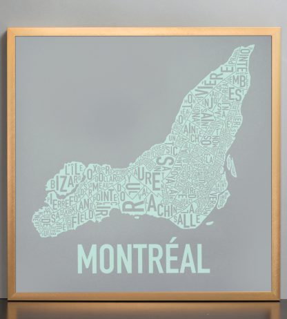 """Framed Montreal Neighbourhoods Map, Grey & Light Green, 18"""" x 18"""" in Bronze Frame"""