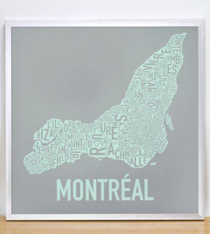 """Framed Montreal Neighbourhoods Map, Grey & Light Green, 18"""" x 18"""" in Silver Frame"""