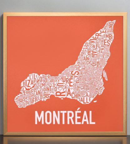 "Framed Montreal Neighbourhoods Map, Orange & White, 18"" x 18"" in Bronze Frame"
