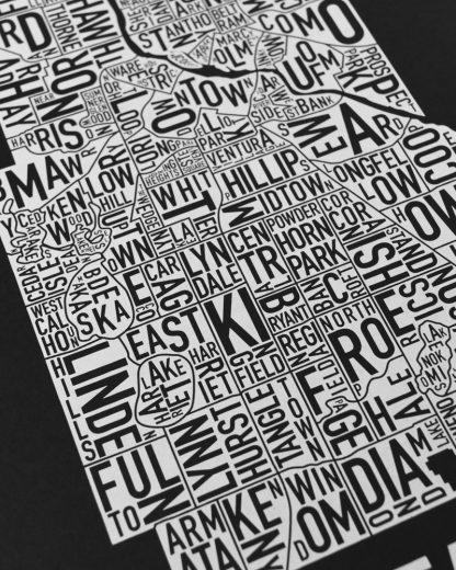 "Minneapolis Neighborhood Map, Black & White Screenprint, 11"" x 14"""