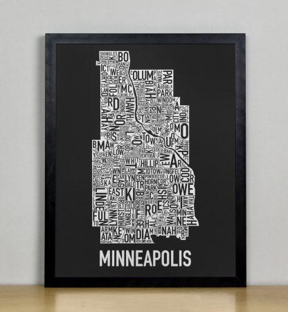 """Framed Minneapolis Neighborhood Map, Black & White Screenprint, 11"""" x 14"""" in Black Frame"""