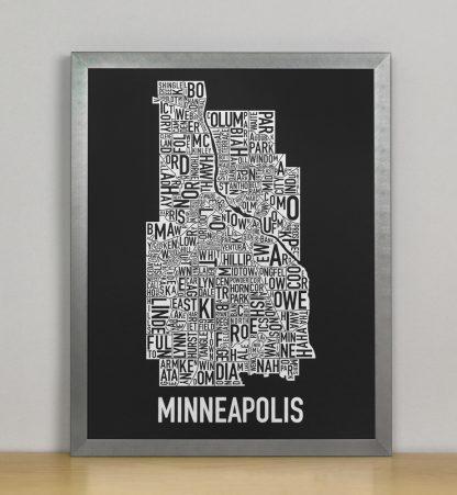 "Framed Minneapolis Neighborhood Map, Black & White Screenprint, 11"" x 14"" in Steel Grey Frame"