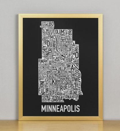 """Framed Minneapolis Neighborhood Map, Black & White Screenprint, 11"""" x 14"""" in Bronze Frame"""