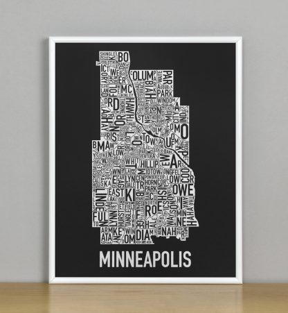 """Framed Minneapolis Neighborhood Map, Black & White Screenprint, 11"""" x 14"""" in White Metal Frame"""