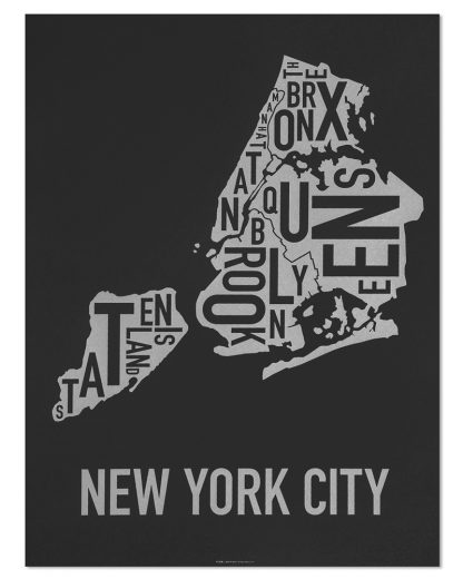 "New York City Boroughs Map Screenprint, Black & Silver, 18"" x 24"""