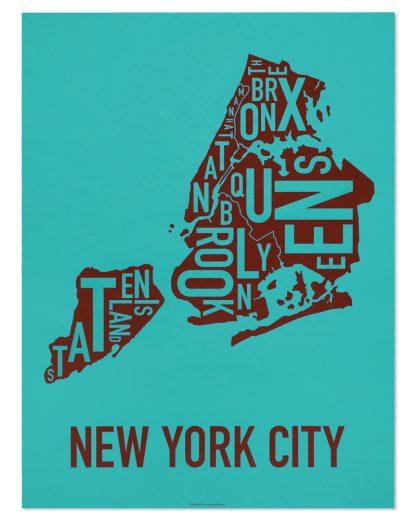 "New York City Boroughs Map Screenprint, Teal & Sienna, 18"" x 24"""
