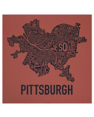 "Pittsburgh Neighborhood Map Screenprint, Brick Red & Navy, 18"" x 18"""