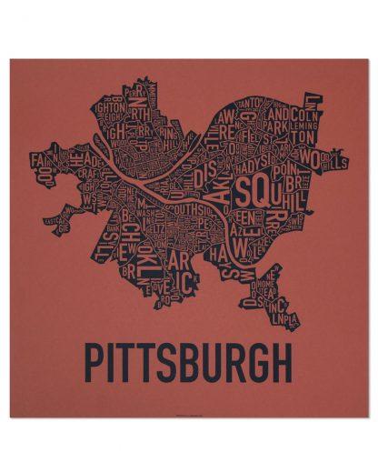 "Pittsburgh Neighborhood Map Screenprint, Brick Red & Navy, 18"" x 18"""
